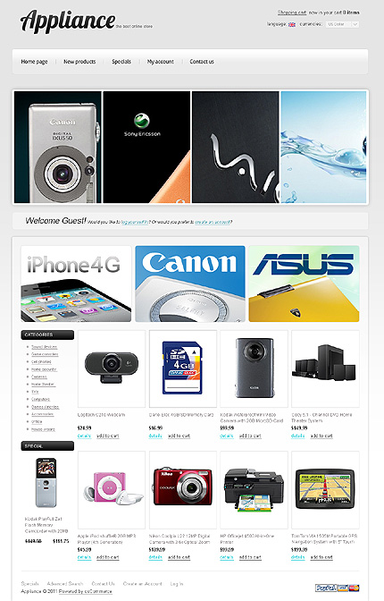 osCommerce Template 35278 Main Page Screenshot