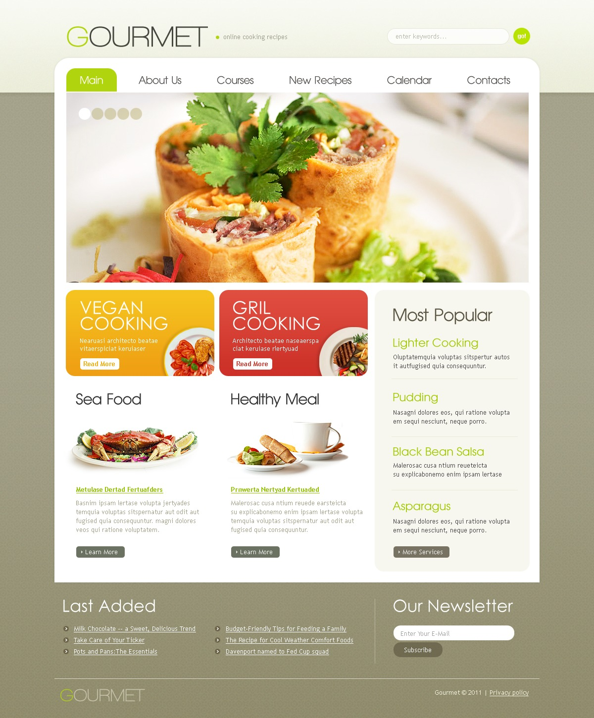 Cooking School PSD Template
