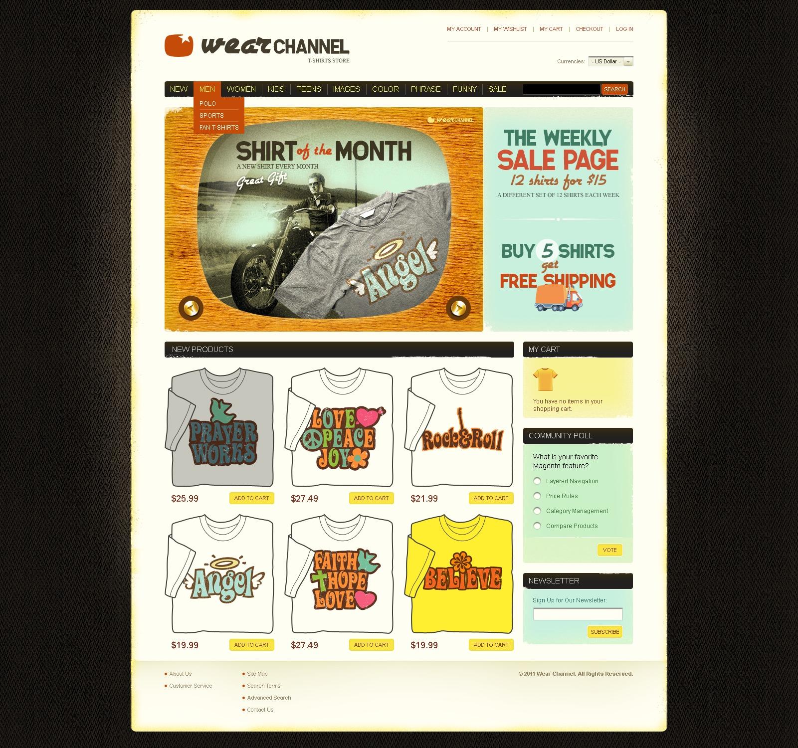 T-shirt Shop Magento Theme - screenshot