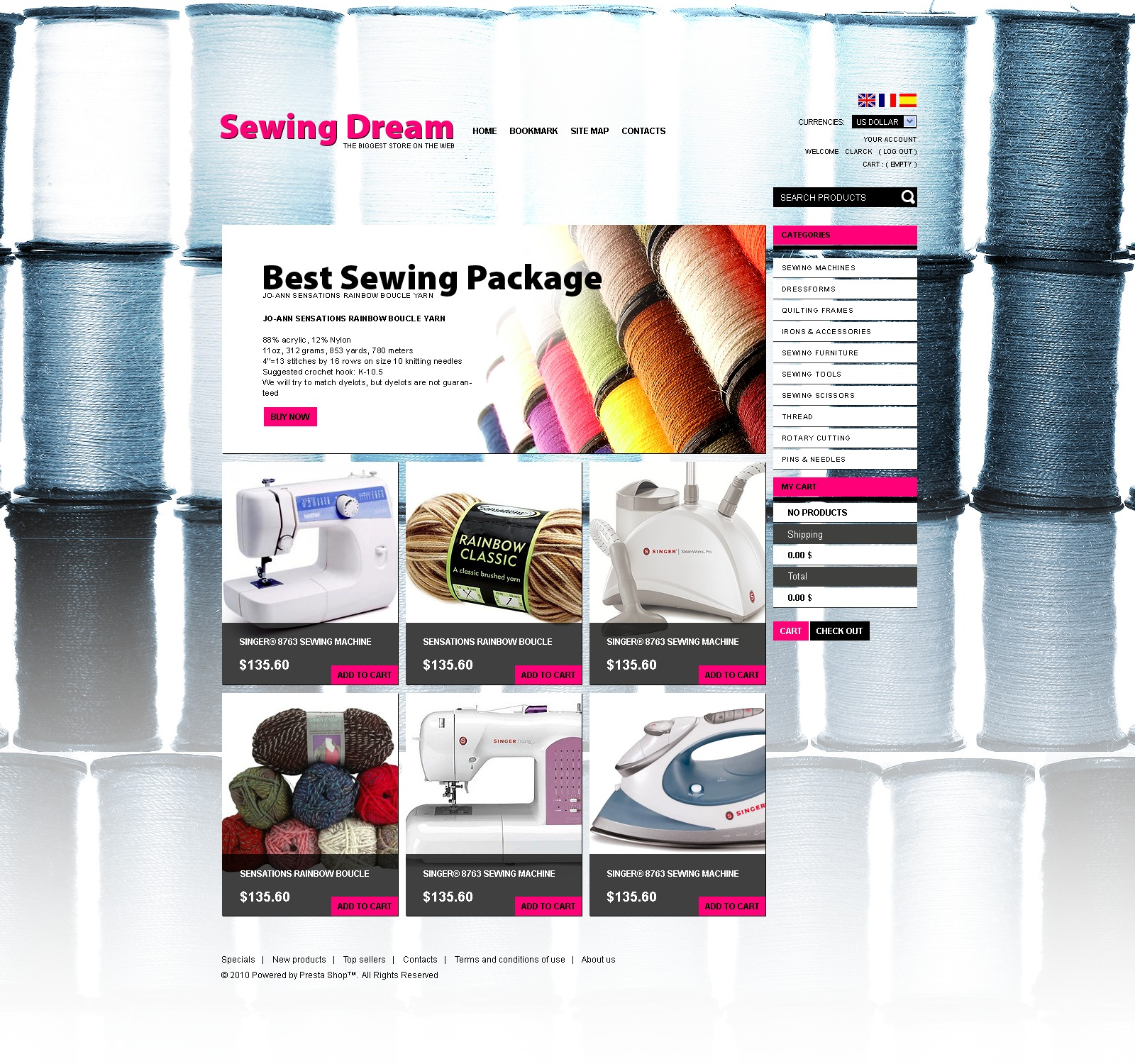 """Sewing Goods"" - PrestaShop шаблон №35376 - скріншот"