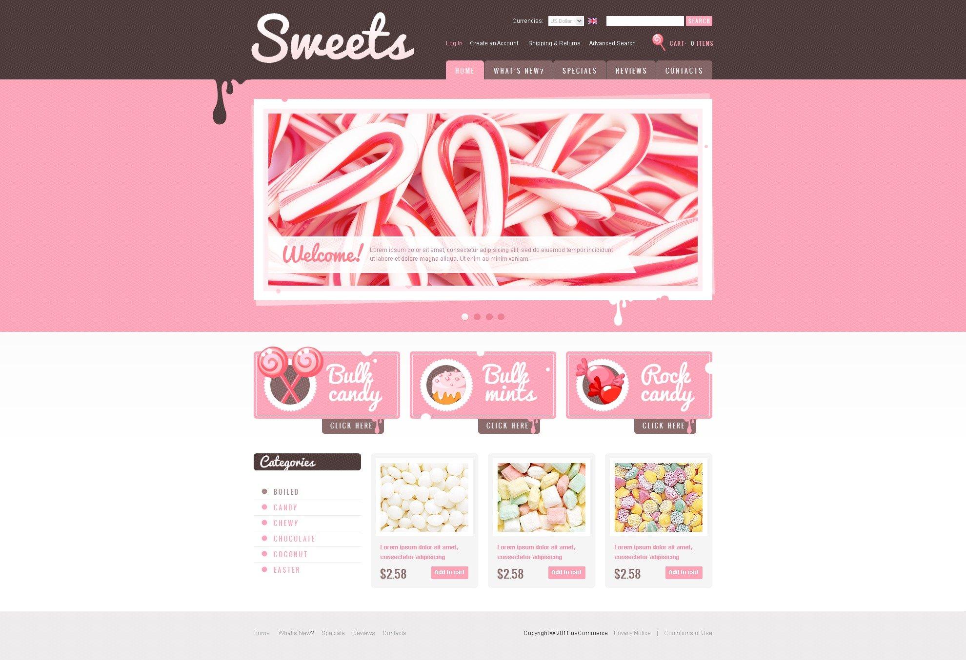 Sweet Shop OsCommerce Template - screenshot