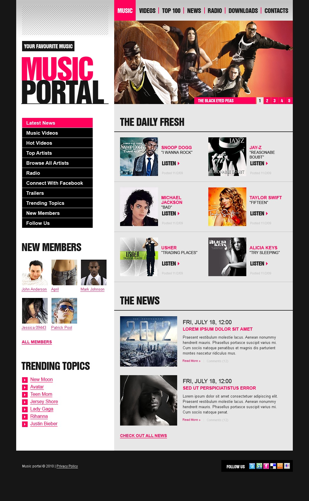 Music Portal WordPress Theme #35535