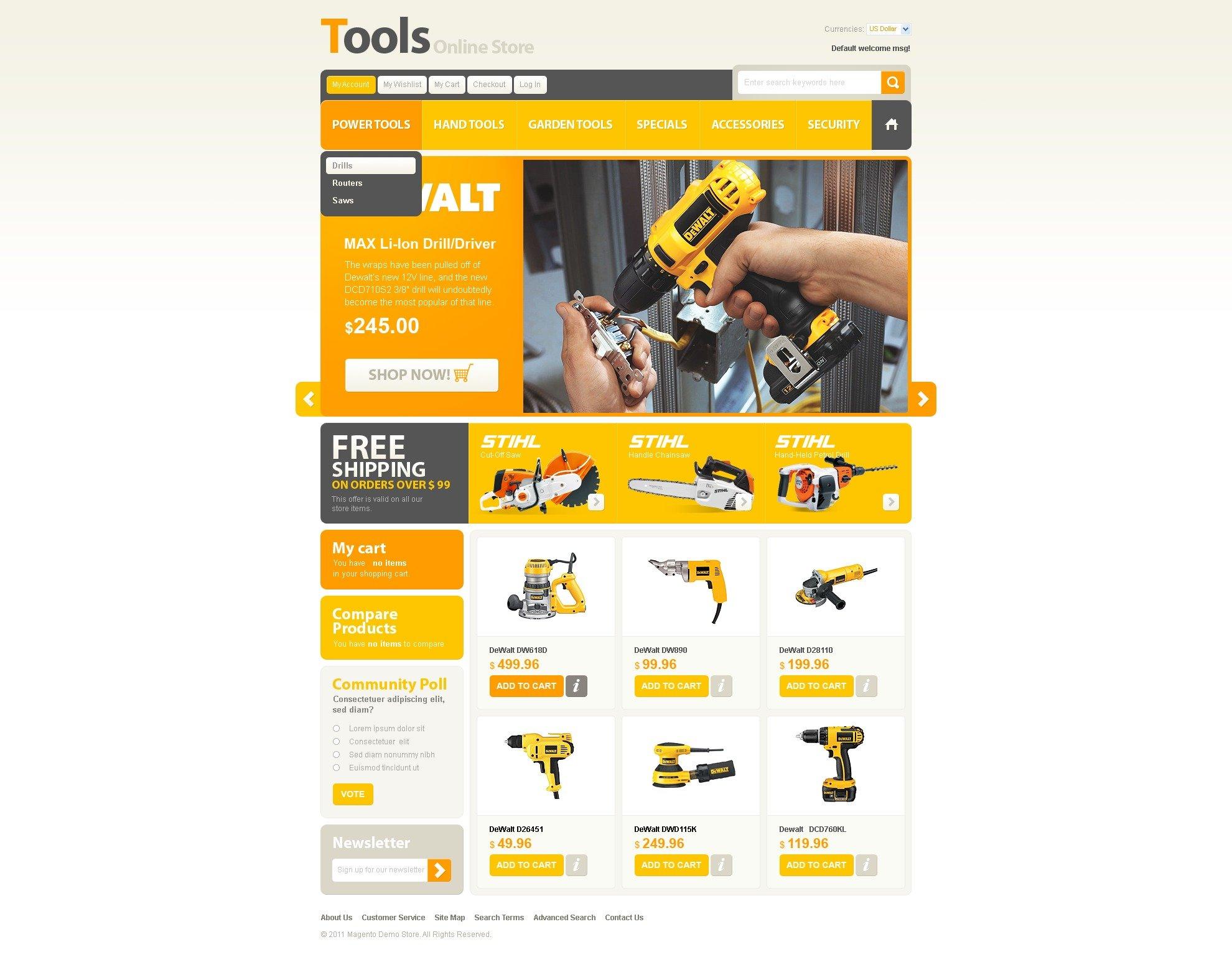 Tools & Equipment Magento Theme - screenshot