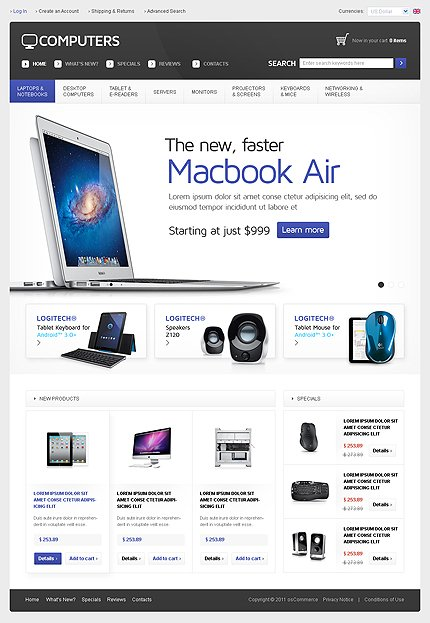 osCommerce Template 35610 Main Page Screenshot