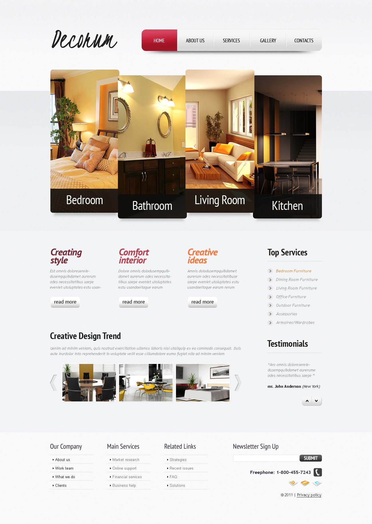Interior design website template 35615 for Interior design sites