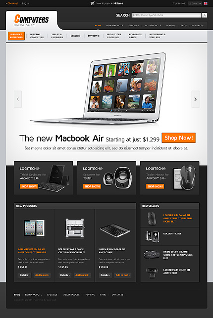 ZenCart Template 35785 Main Page Screenshot