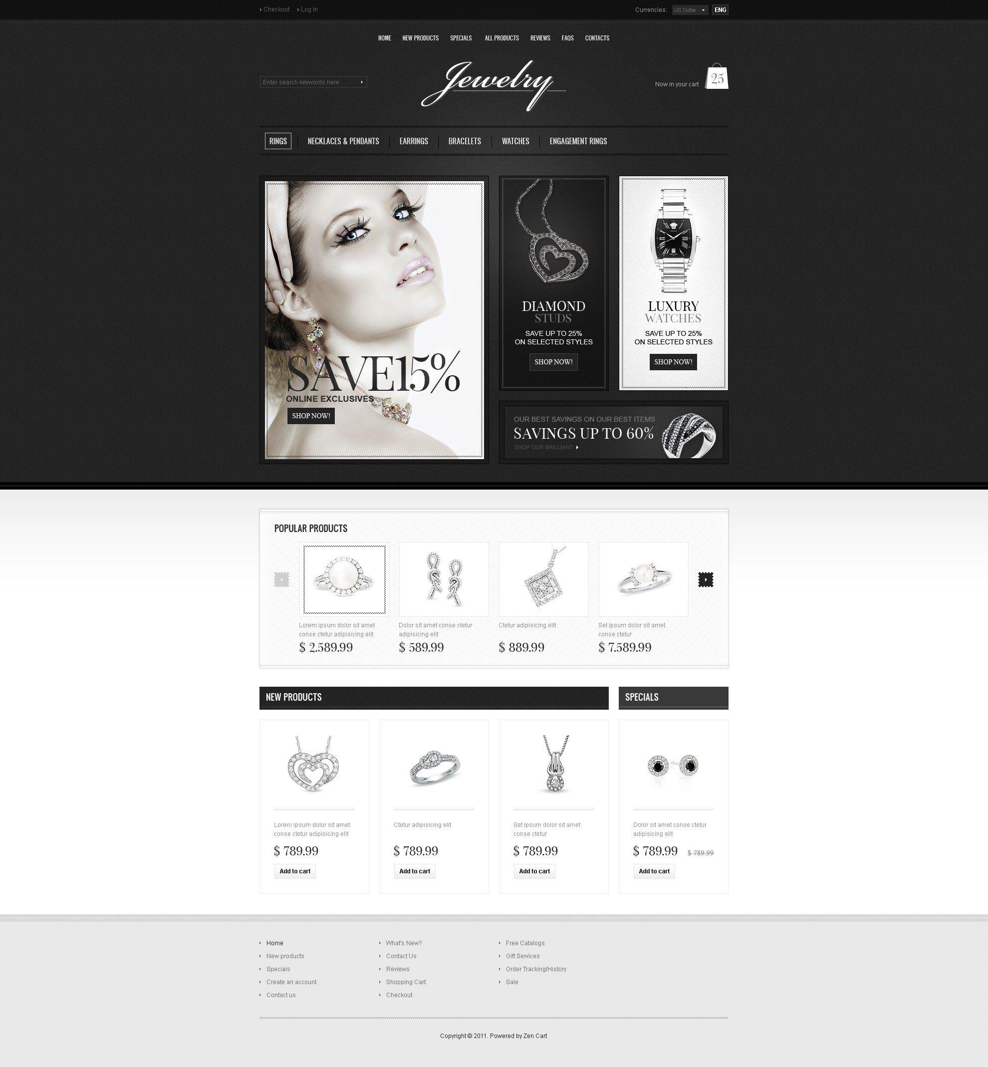 Szablon ZenCart #35740 na temat: biżuteria - zrzut ekranu