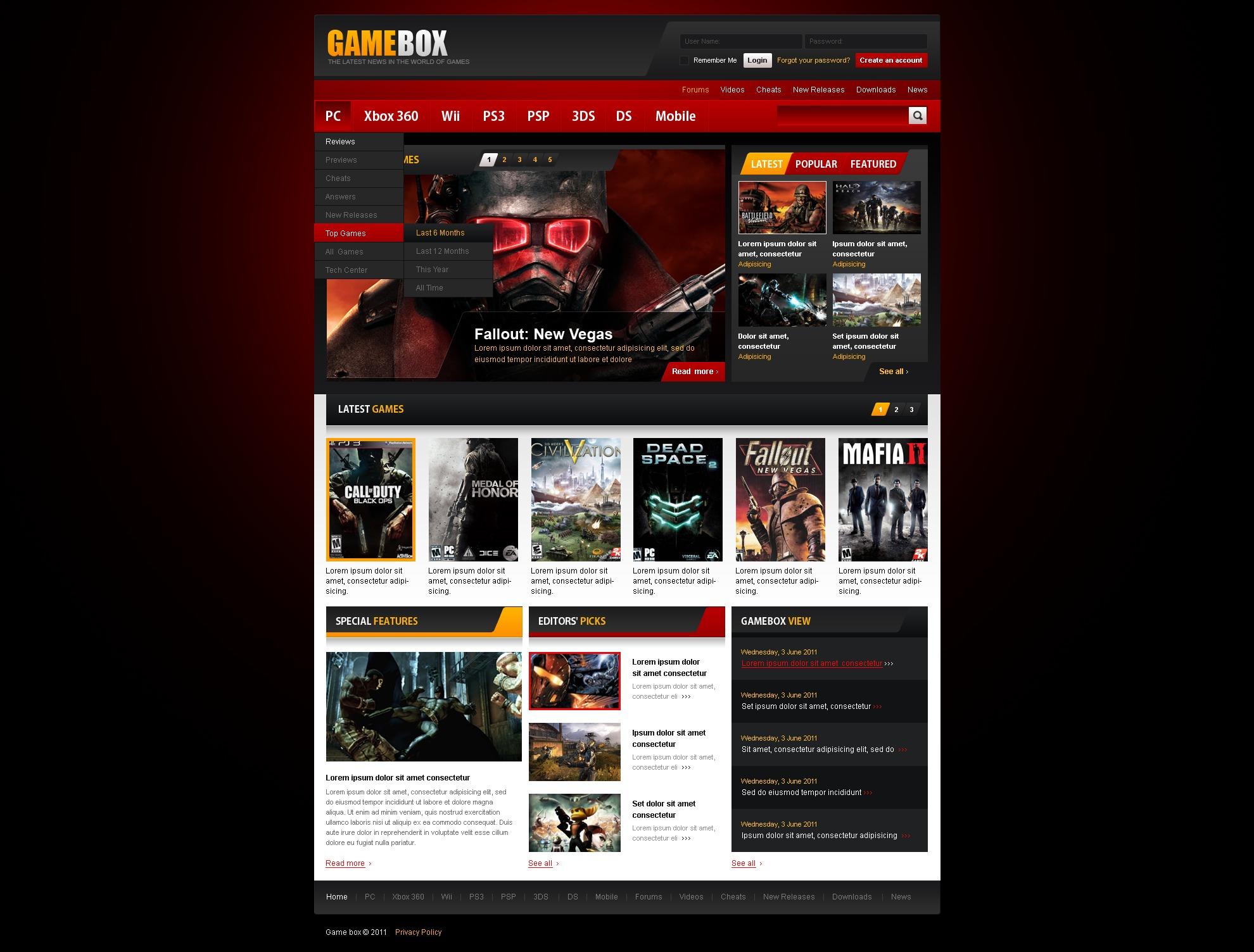 Modello siti web per un sito di giochi for Siti web di costruzione domestica