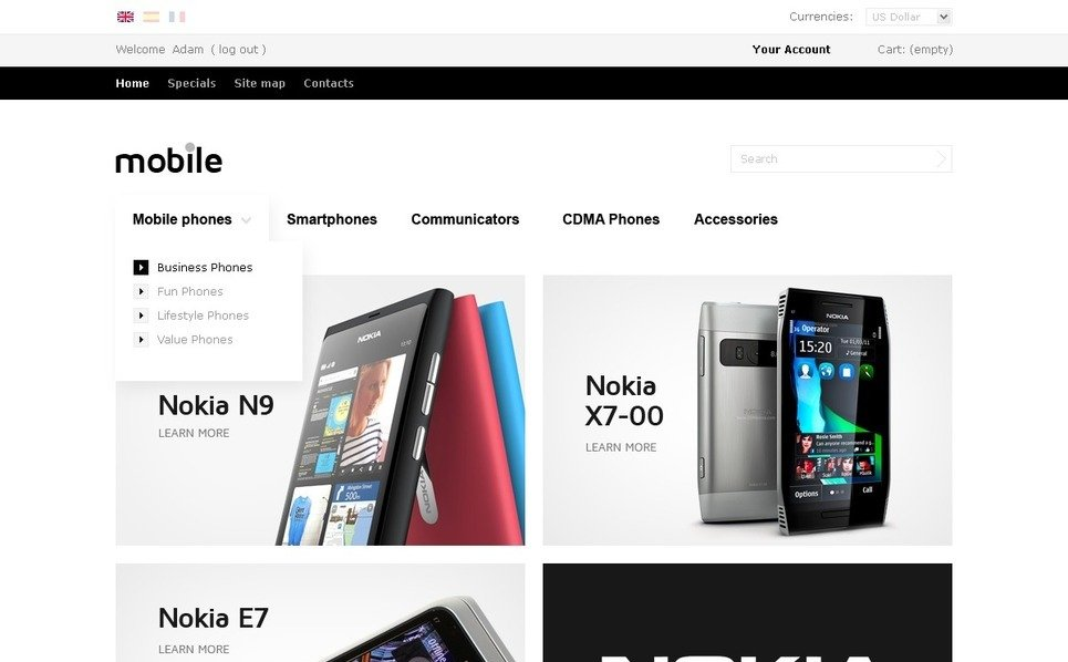 "PrestaShop Theme namens ""Mobile Endgeräte Online"" New Screenshots BIG"