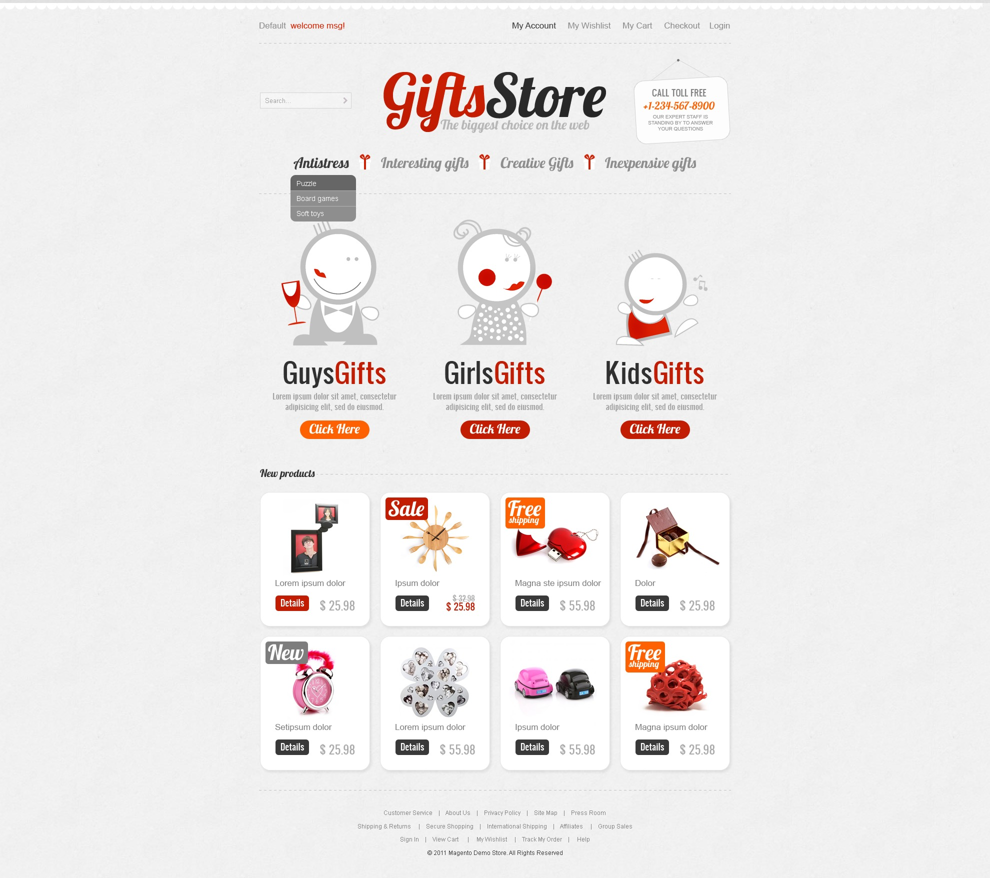 Gifts Store Magento Theme - screenshot