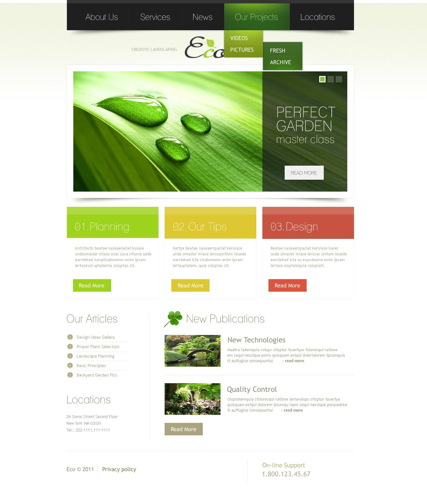 garden design psd template