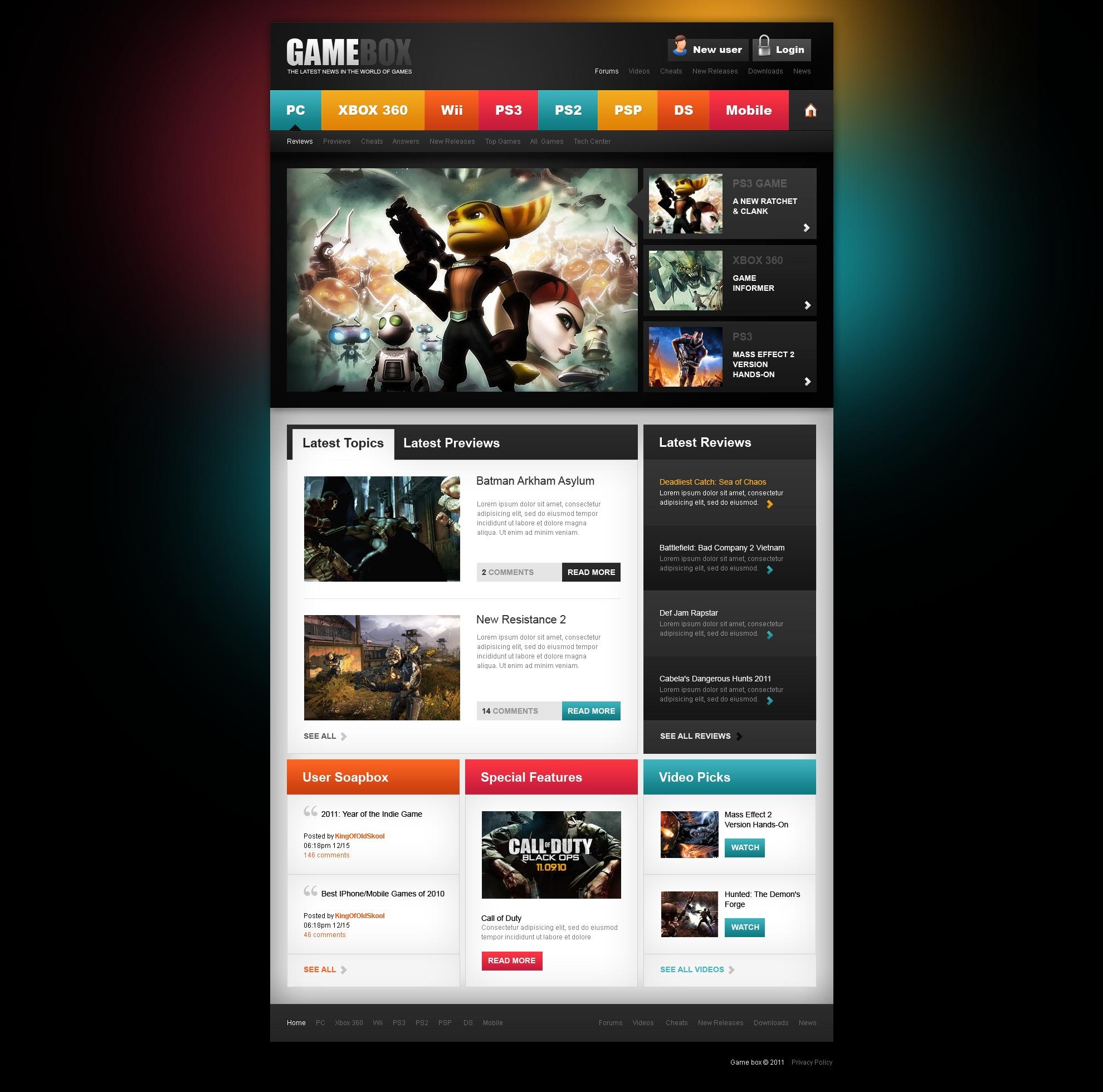 шаблоны сайта игровой компании