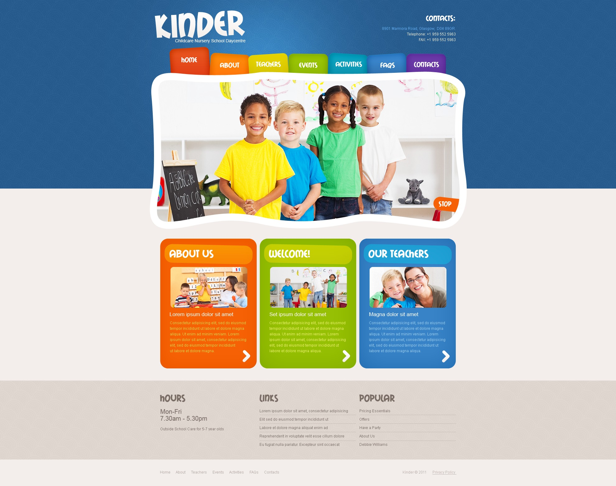 Kids Center PSD Template