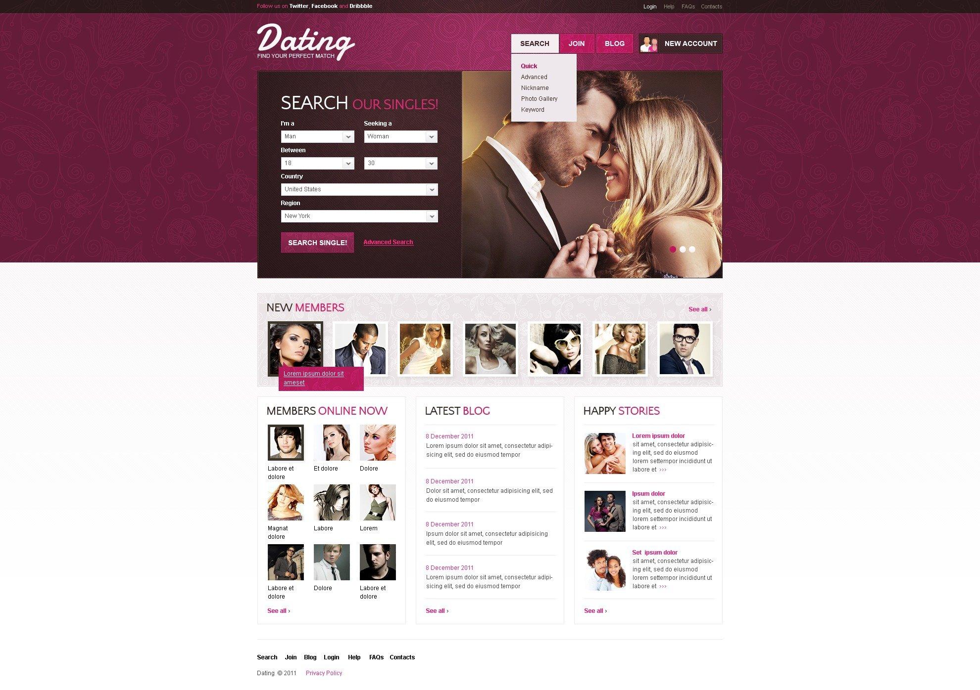Шаблоны на сайты знакомств