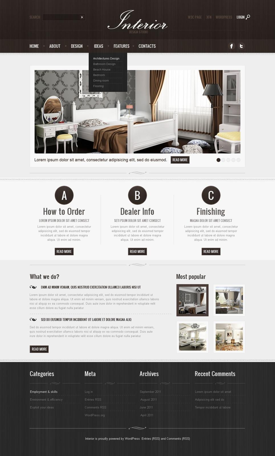 Template wordpress per un sito di design di interni for Designer di interni