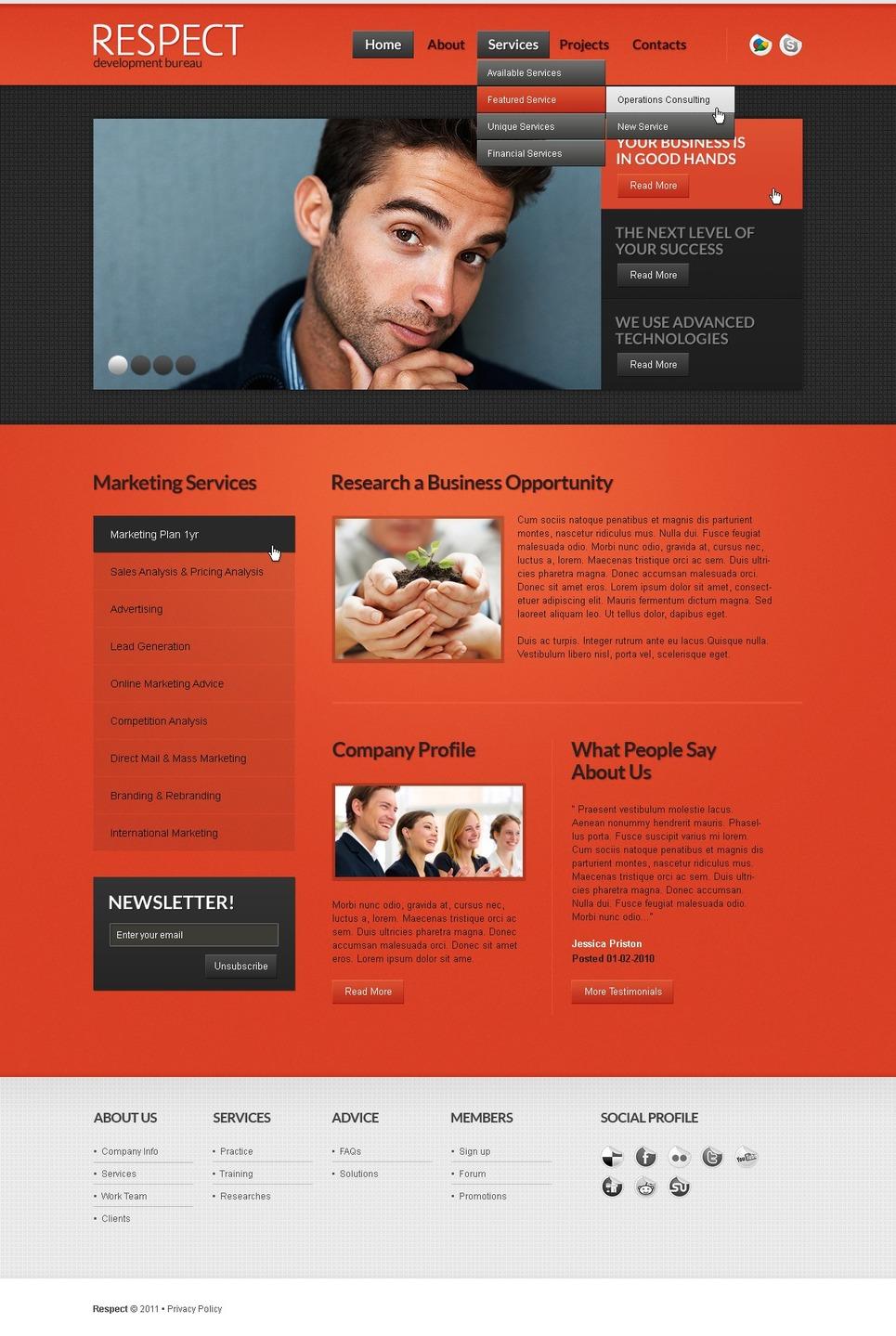 Template siti web per un sito di consulenza for Siti web di home plan