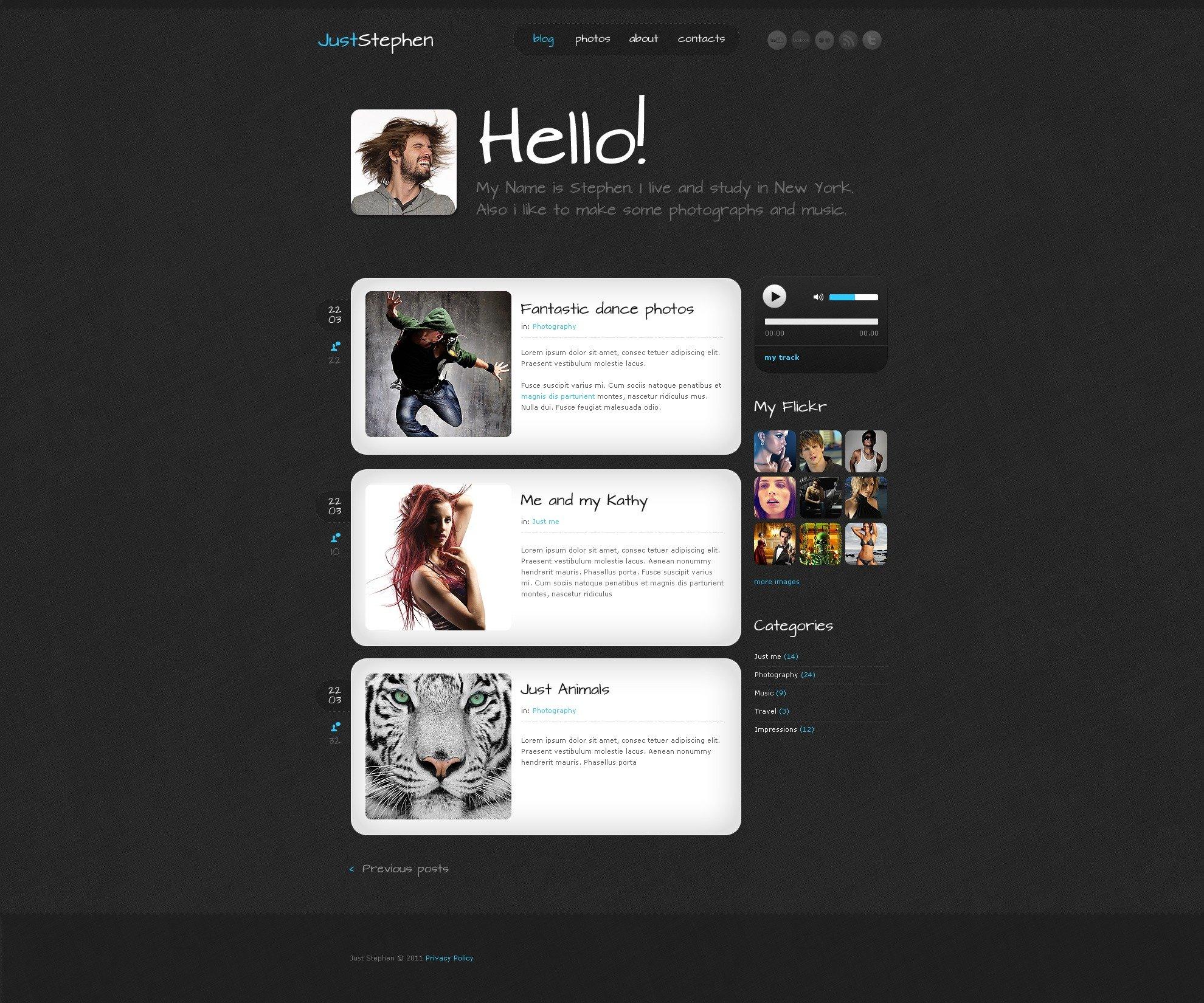 Personal Page WordPress Theme #36392