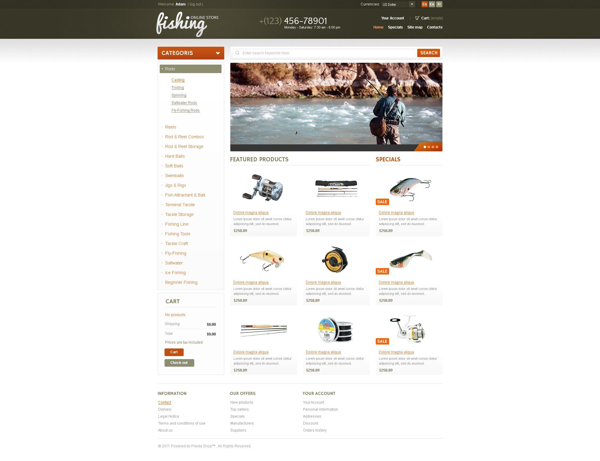 Fishing online store prestashop theme 36489 for Online fishing store