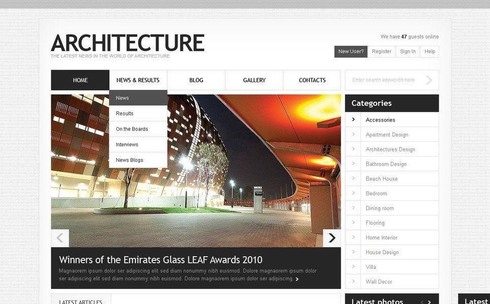 Szablon Drupal #36533 na temat: architektura New Screenshots BIG