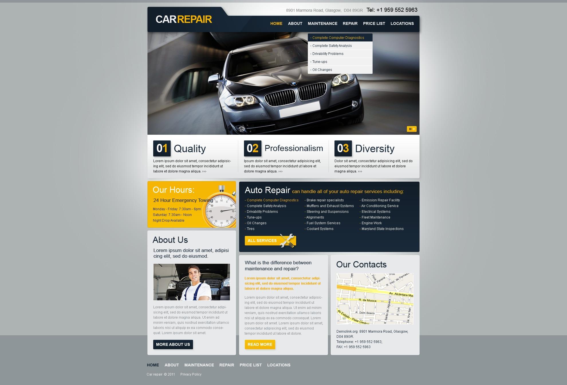 Modèle PSD pour site de réparation de voitures #36502