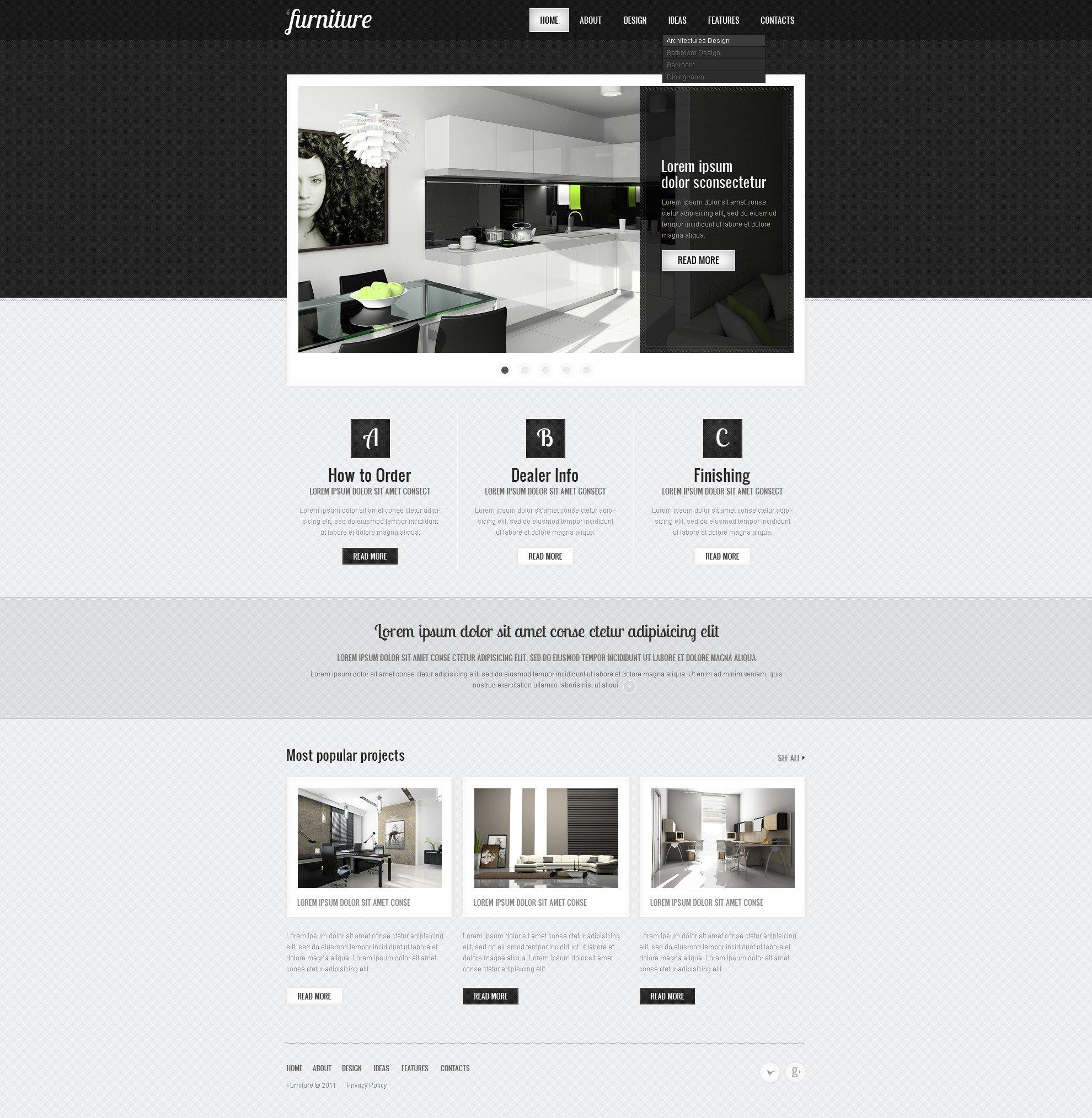 Plantilla web 36599 para sitio de para sitios de muebles for Pagina web muebles