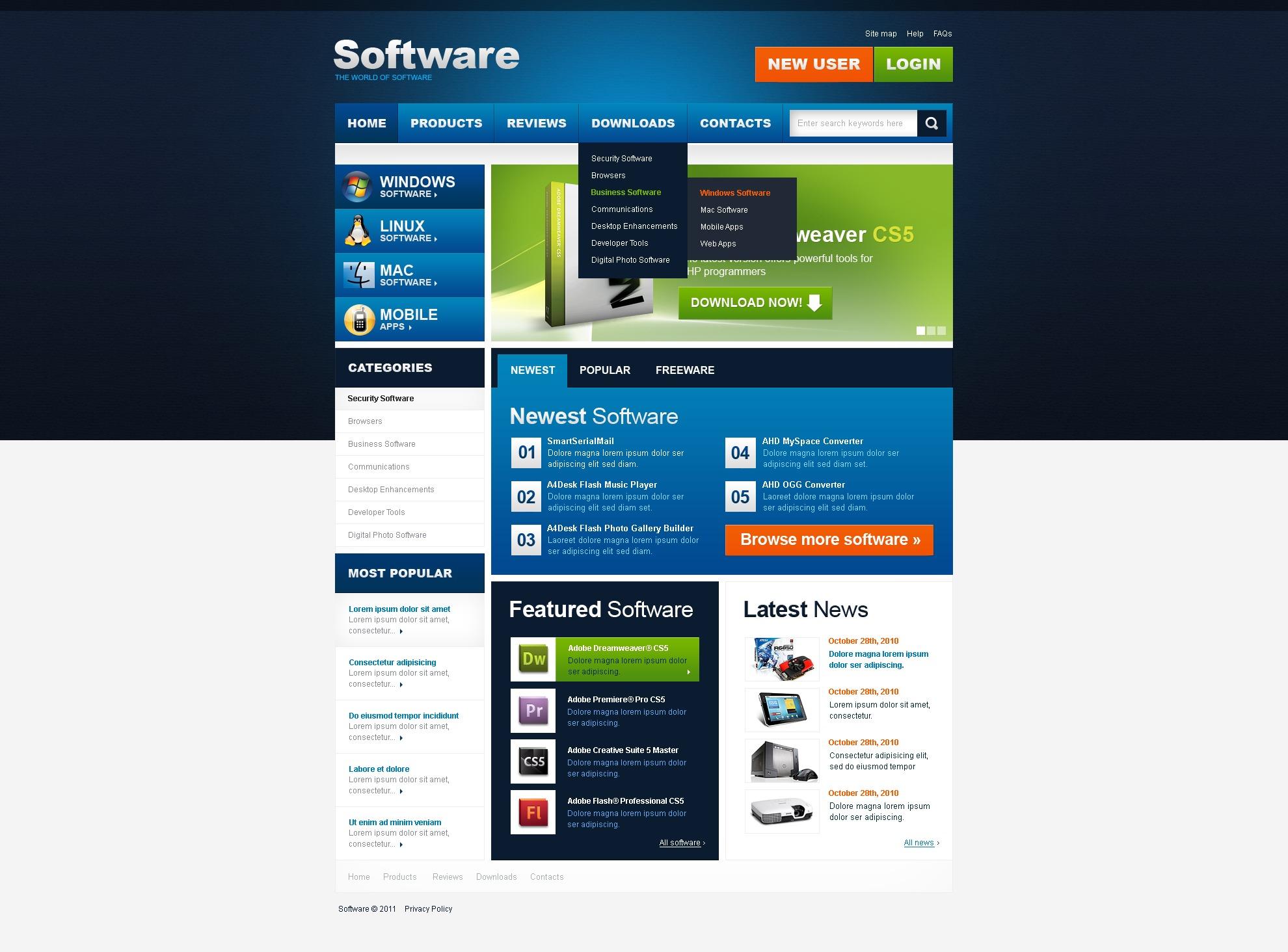 software store website template 36593. Black Bedroom Furniture Sets. Home Design Ideas