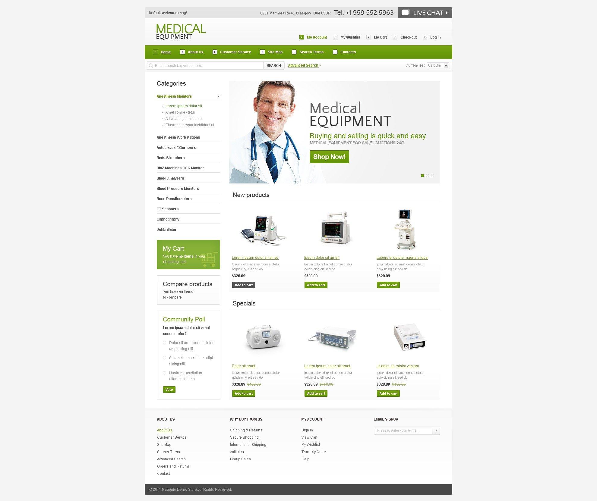 Szablon Magento #36688 na temat: wyposażenie medyczne - zrzut ekranu