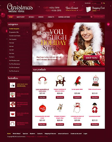 osCommerce Template 36779 Main Page Screenshot