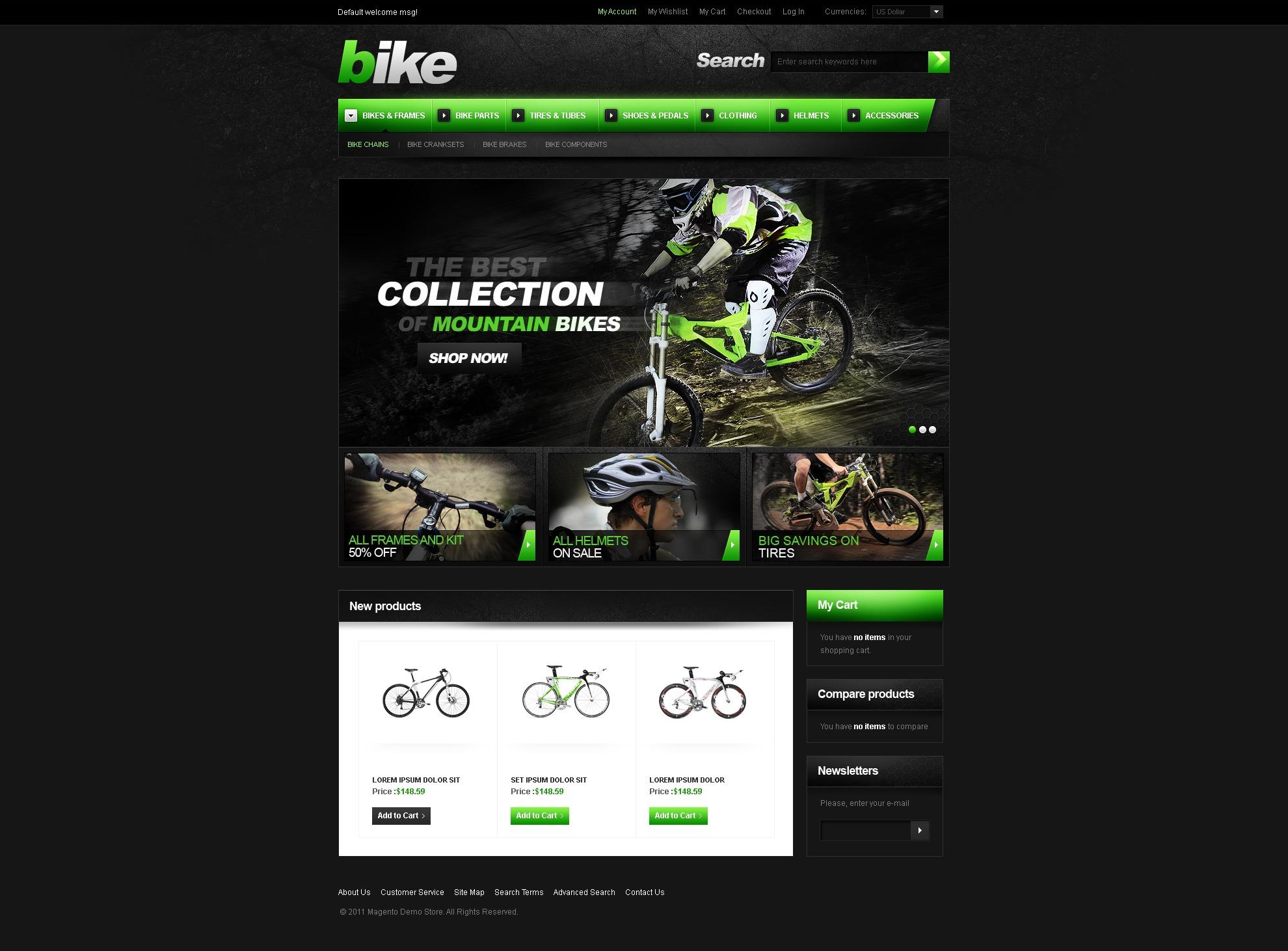 Tema Magento #36723 para Sitio de BMX - captura de pantalla