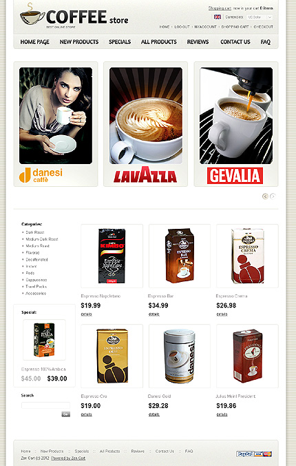 ZenCart Template 36812 Main Page Screenshot