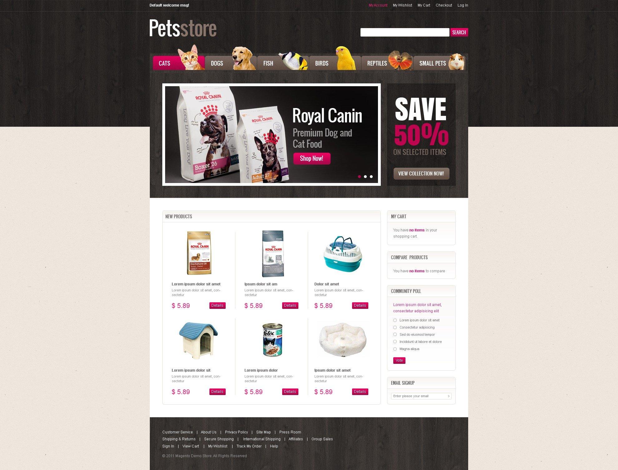 Pet Shop Magento Theme - screenshot