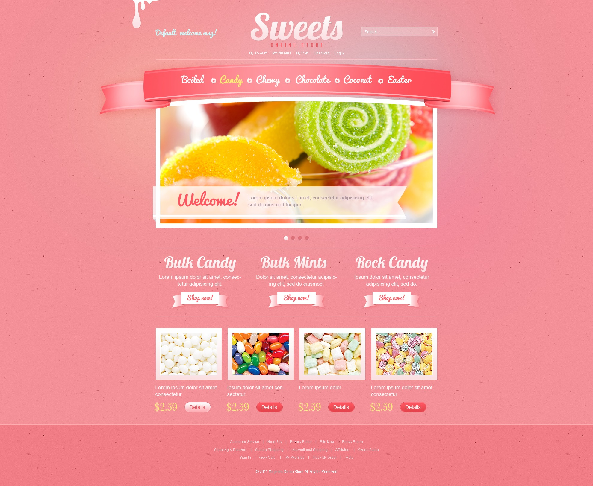 Sweet Shop Magento Theme - screenshot