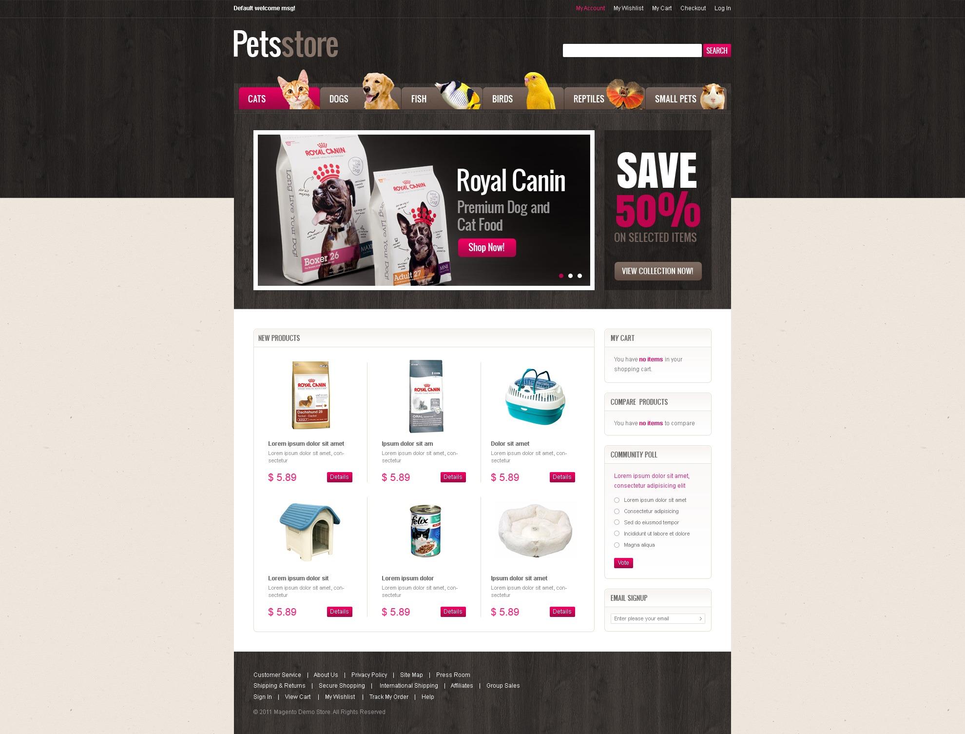 Tema Magento #36891 para Sitio de Tienda de Mascotas - captura de pantalla
