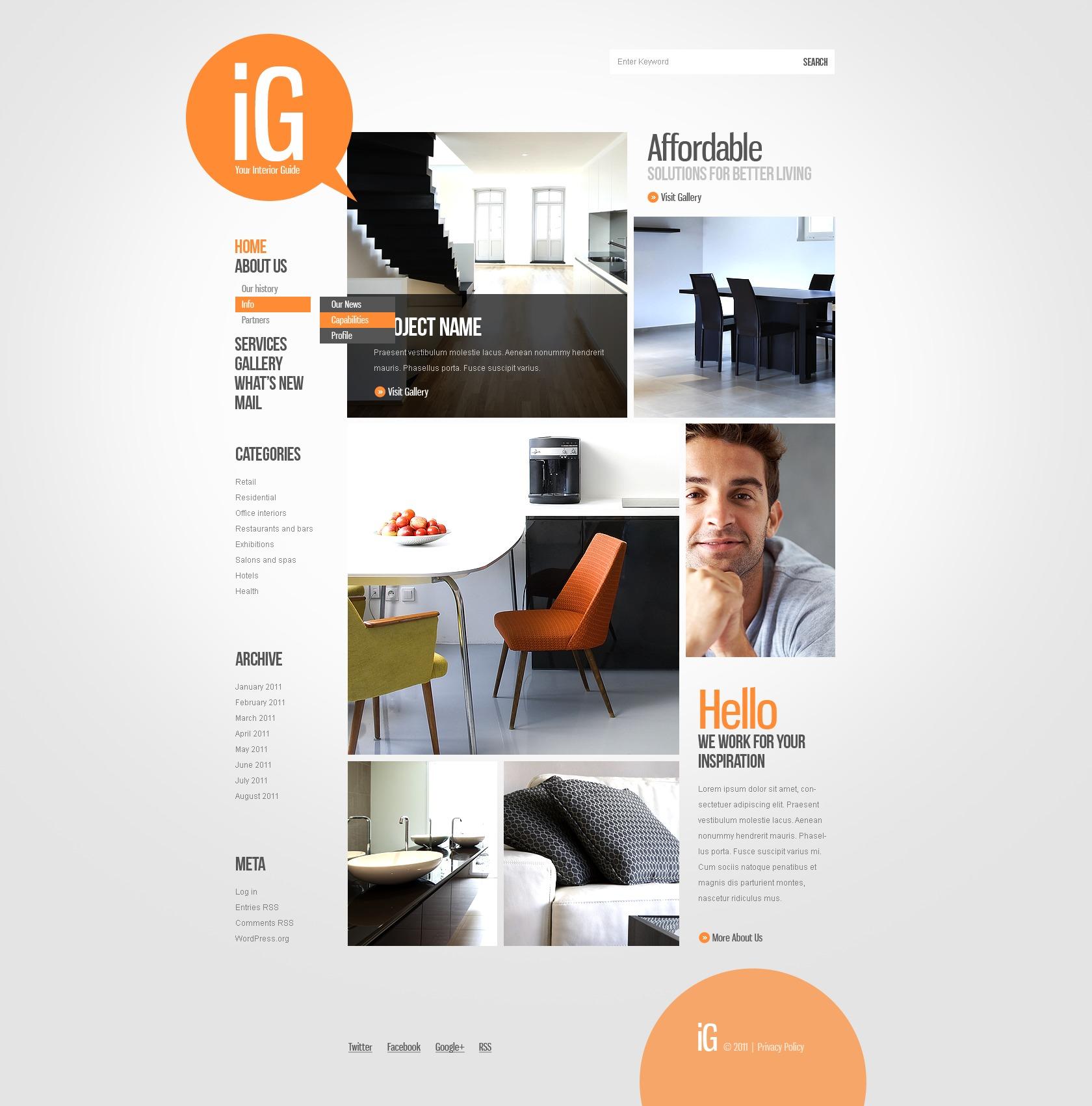 tema wordpress per un sito di design di interni. Black Bedroom Furniture Sets. Home Design Ideas