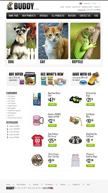 ZenCart Template 36964 Main Page Screenshot