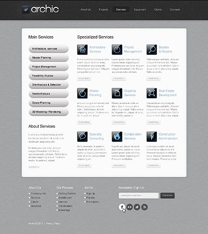 Template 37019 ( Services Page ) ADOBE Photoshop Screenshot