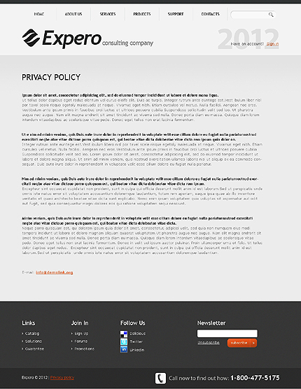 Template 37074 ( Privacy Policy Page ) ADOBE Photoshop Screenshot