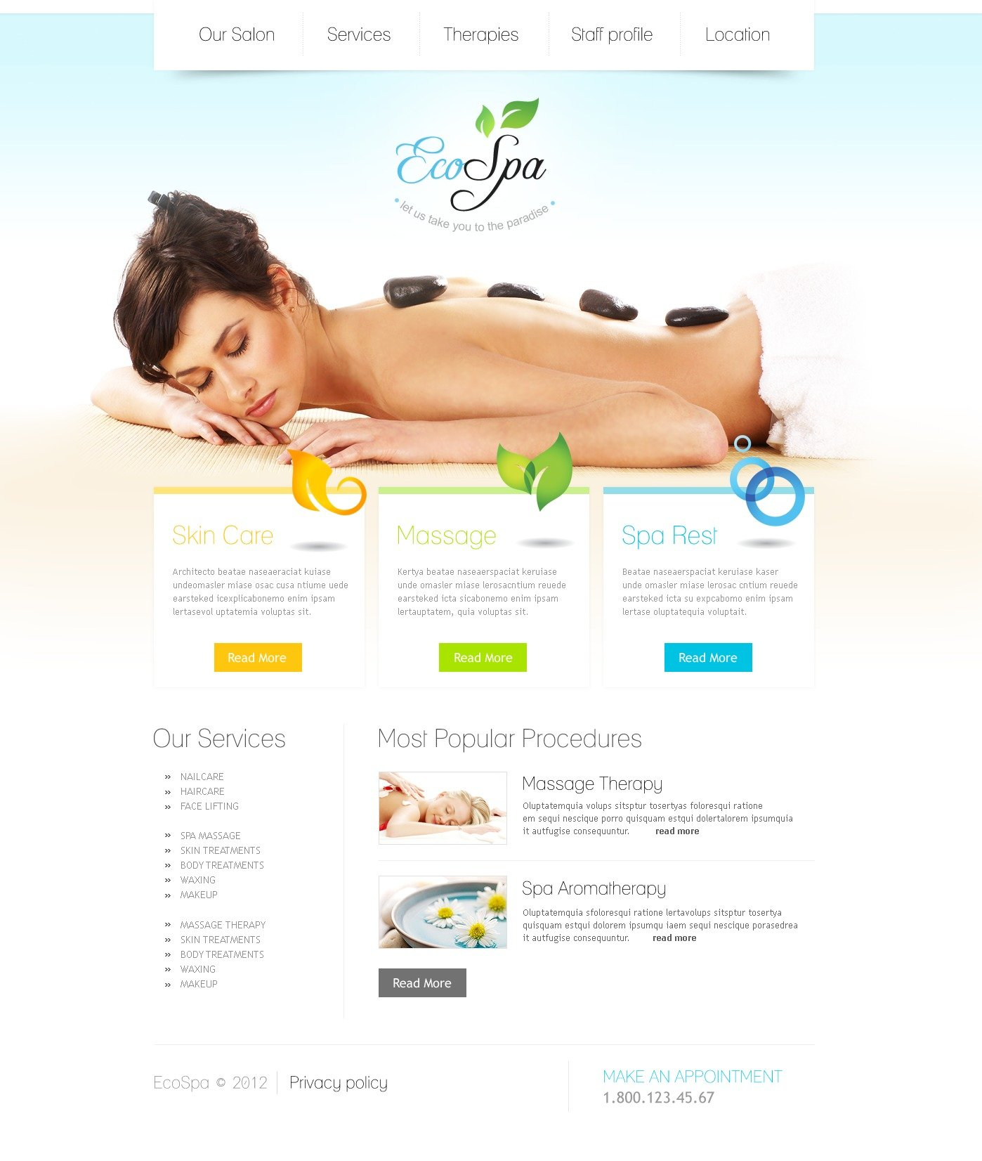 Beauty Salon PSD Template - screenshot