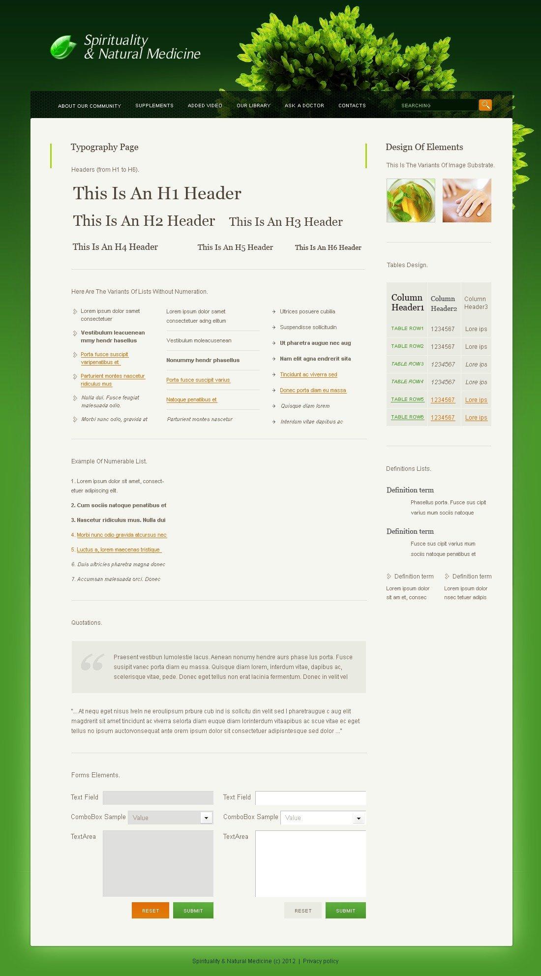Herbal PSD Template - screenshot