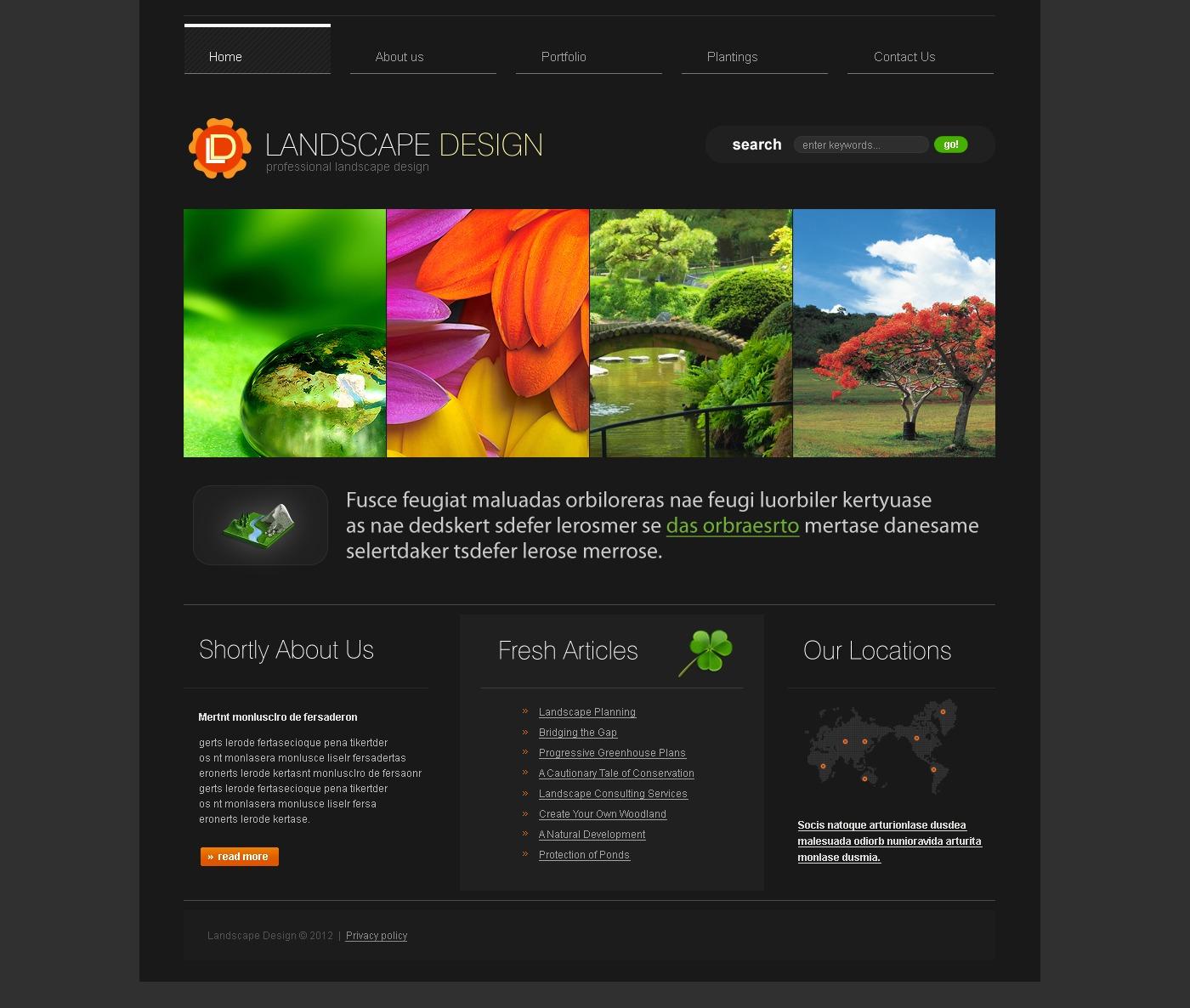 Modèle PSD pour site de design paysager #37039 - screenshot