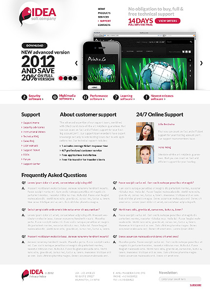 Template 37105 ( Support Page ) ADOBE Photoshop Screenshot