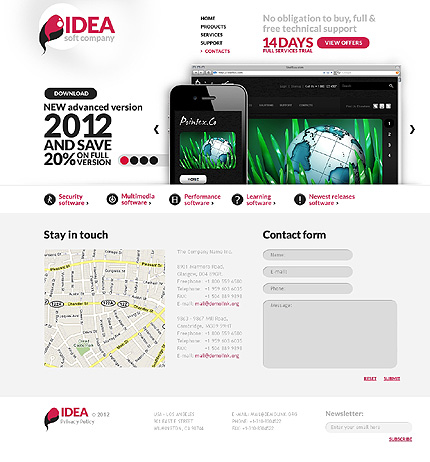 Template 37105 ( Contacts Page ) ADOBE Photoshop Screenshot