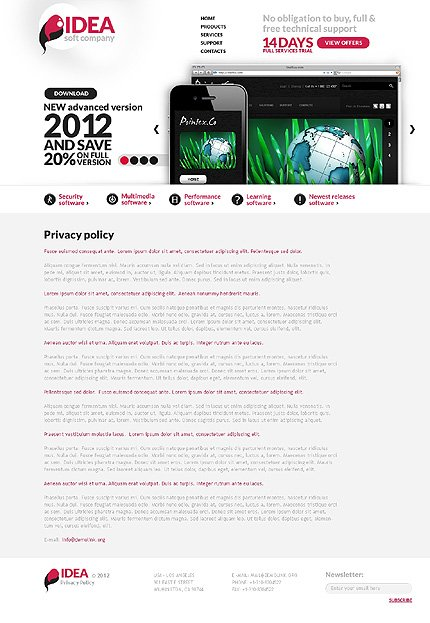 Template 37105 ( Privacy Policy Page ) ADOBE Photoshop Screenshot