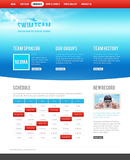 Template 37134 ( Swim Info Page ) ADOBE Photoshop Screenshot