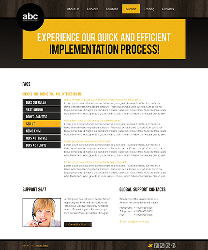 Template 37140 ( Support Page ) ADOBE Photoshop Screenshot