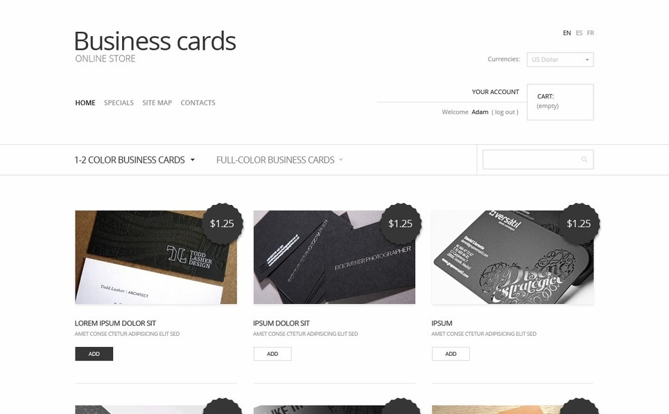 "PrestaShop Theme namens ""Visitenkarten"" New Screenshots BIG"
