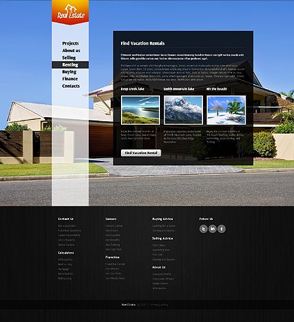 Template 37157 ( Renting Page ) ADOBE Photoshop Screenshot
