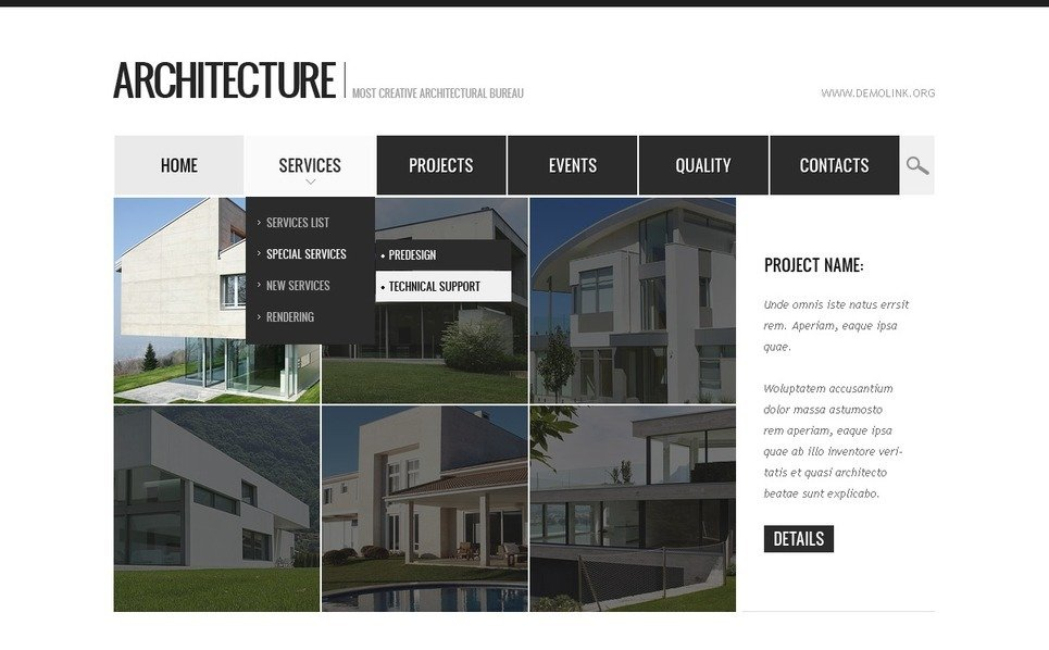 Drupal Vorlage für Architektur New Screenshots BIG