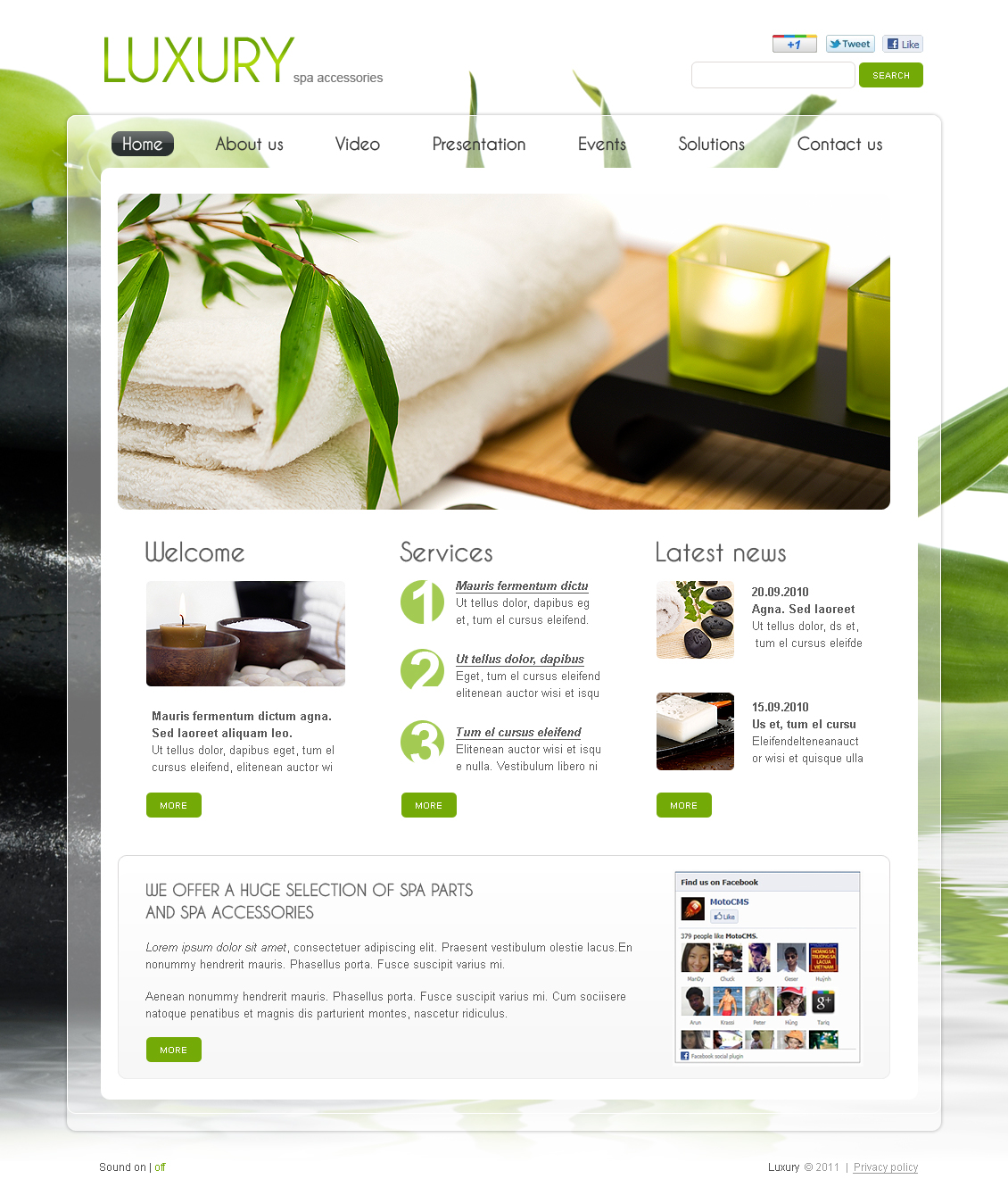 cosmetology portfolio template - spa accessories flash cms template 37174
