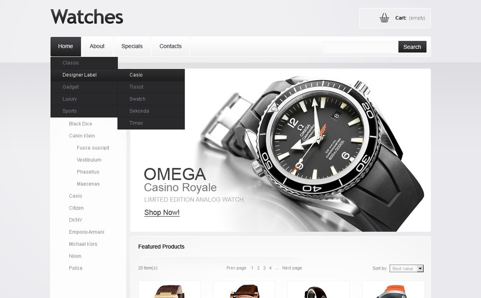 Flash CMS Template over Horloges  New Screenshots BIG